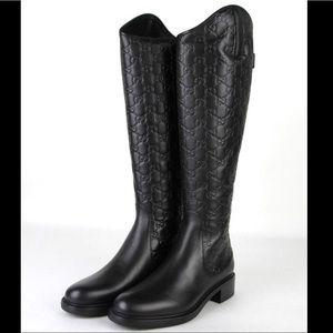 Gucci guccisima black leather riding boots